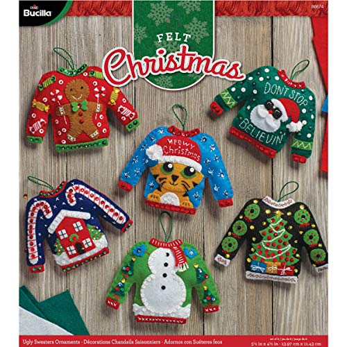 Bucilla 86674 BUC86674 Felt Kits 6 Orns Ugly Sweaters from Bucilla