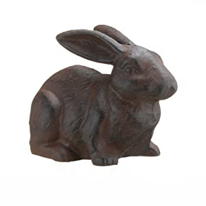 Full Bodied Cast Iron Rabbit Garden Figure by INsideOUT