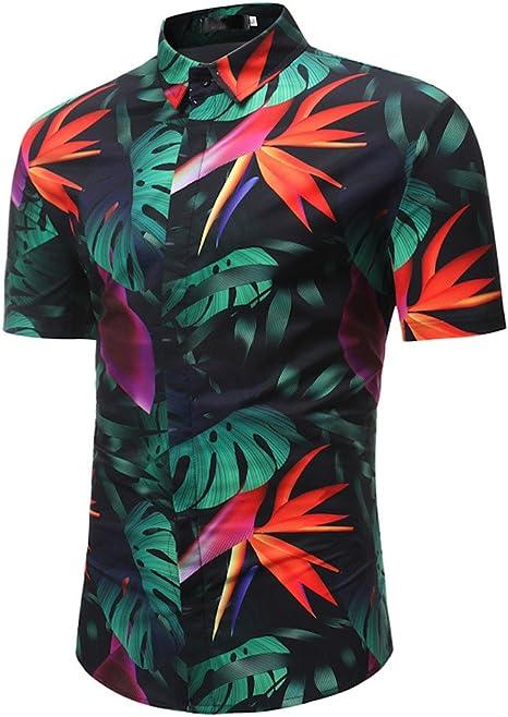 PARVAL Camisa Hawaiana con Estampado Floral de Hombre Hombres | Manga Corta | Bolsillo Delantero | Impresión Hawaiana | Grandes Flores Hojas Verano ...