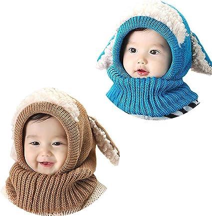 Bebé Niño Niña Gorros de Invierno con Bufanda, laamei Sombrero ...
