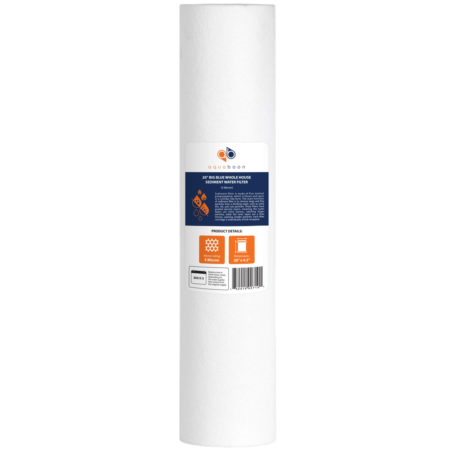 Aquaboon 1-PACK Of 1µ m Big Blue 20'x4.5' Sediment Water Filter Cartridge for Whole House COMIN18JU065641