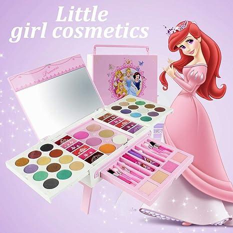 Disney kit de maquillaje cosmético estuches maletin maquillaje infantil Lavable Portáti No Tóxico cajas para juguetes, Regalo Ideal Para Niñas, 56pcs/set: Amazon.es: Bebé