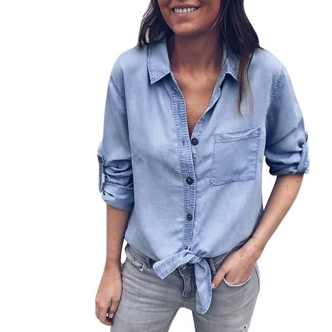 ALIKEEY Color Sólido De Manga Larga Camisa De Botón Ajustable Correa De Moda Mujer Venda Bolsillo Manga Blusa Camisa Denim Esposado: Amazon.es: Ropa y ...