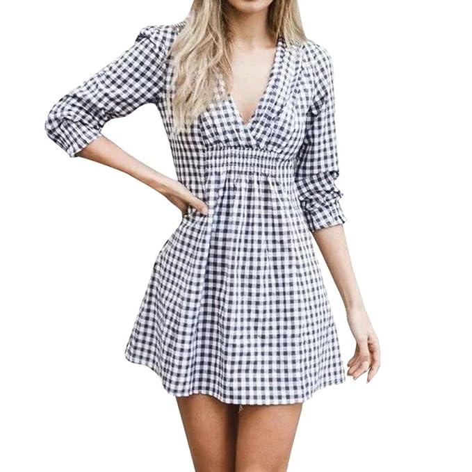 QinMM Mini Vestido de Cuello en v a Cuadros de Mujer, Vestido de Fiesta Casual DE