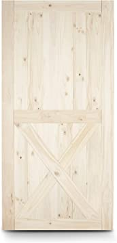 Amazon Com Belleze Lower X Sliding Barn Door 7ft X 3 5ft Natural Wood Pine Diy Kit Unfinished Single Door Pre Drill 42 X 84 Inches Home Improvement