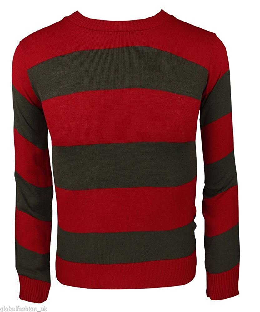 B Mens Stripe Long Sleeve Freddie Jumper (Large, Red & Green)