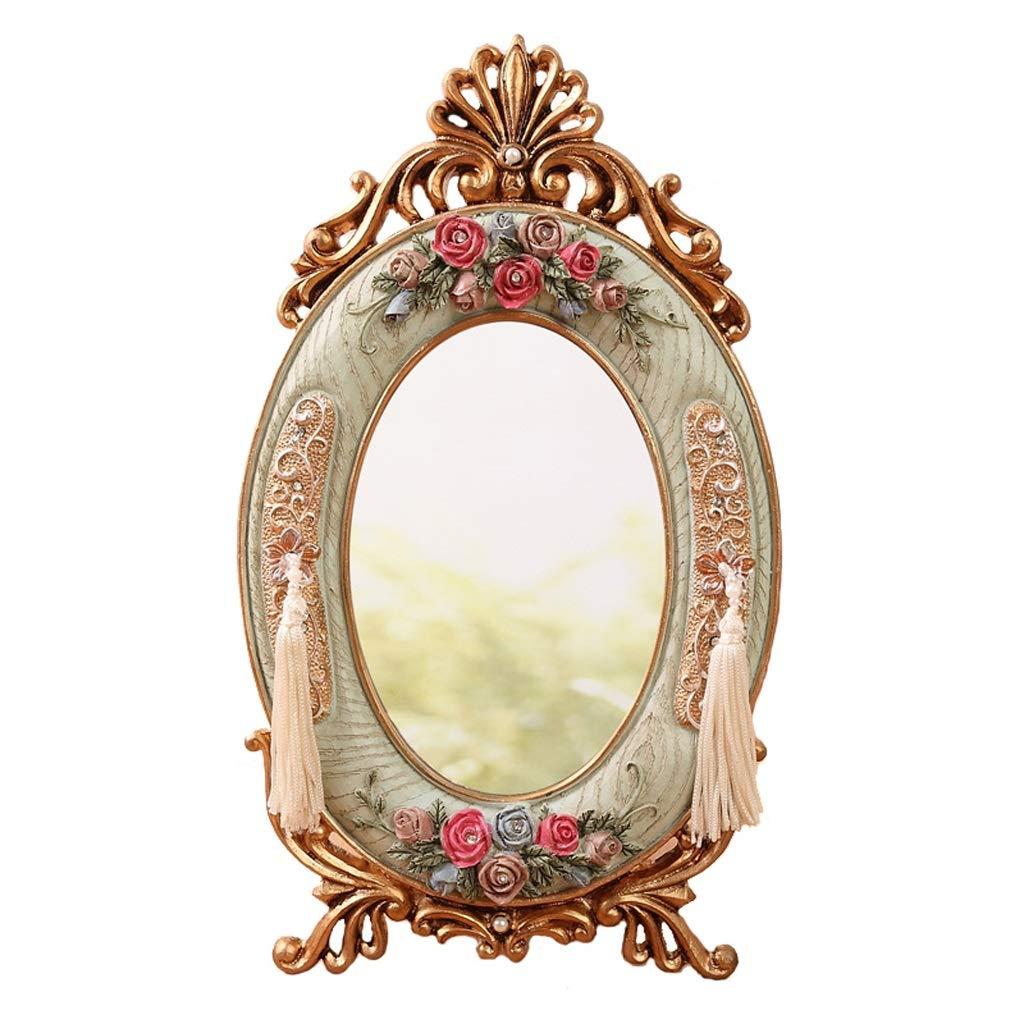 Vanity Mirrors Creative Birthday Gift European Retro Dressing Mirror Korean American Garden Desktop Makeup Mirror Dormitory Mirror Countertop