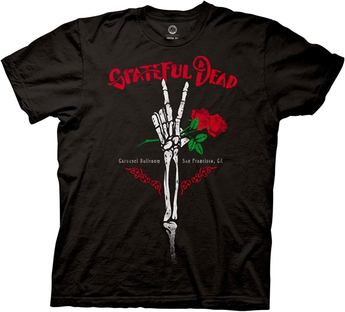 Ripple Junction Grateful Dead Adult Skeleton Peace Fingers Hand Heavy Weight 100% Cotton Big and Tall Crew T-Shirt