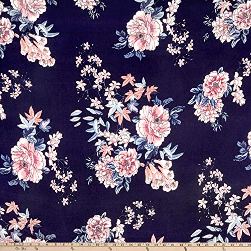 Fabric Double Brushed Poly Jersey Knit Floral Garden Navy/Mauve, Fabric by the - Jersey Floral Spandex