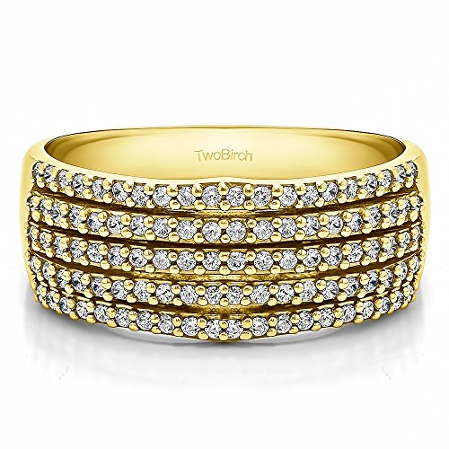 Yellow Plated Silver White Sapphire .5 CT Multi Row Prong Wedding Ring (Size 3 To 15 1/4 Size Interval)