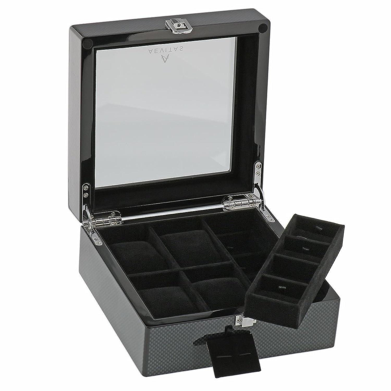 Kohlenstoff-Faser-Uhr und Manschettenknopf Collectors Box fÜr 4 Armbanduhren plus 8 Paare Manschettenknopf durch