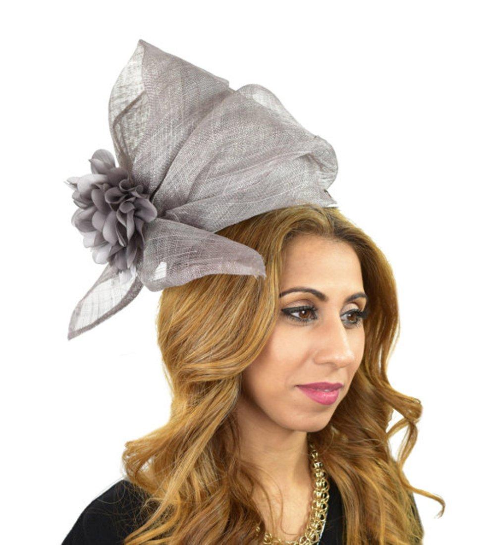 Hats By Cressida Ladies Wedding Races Ascot Derby Fascinator Headband Grey