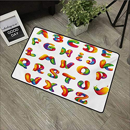 (Bathroom mat W19 x L31 INCH Educational,Artistic Design of Alphabet Letters Brushstrokes Paint Splashes Creative Style,Multicolor Non-Slip, with Non-Slip Backing,Non-Slip Door Mat Carpet)