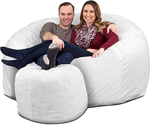 ULTIMATE SACK 6000 Bean Bag Chair w Footstool Giant Foam-Filled Furniture – Machine Washable Covers, Double Stitched Seams, Durable Inner Liner, and 100 Virgin Foam Footstool Incl. Ivory, Fur