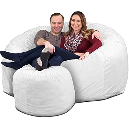 Wondrous Ultimate Sack 6000 Bean Bag Chair W Footstool Giant Foam Filled Furniture Machine Washable Covers Double Stitched Seams Durable Inner Liner And Forskolin Free Trial Chair Design Images Forskolin Free Trialorg
