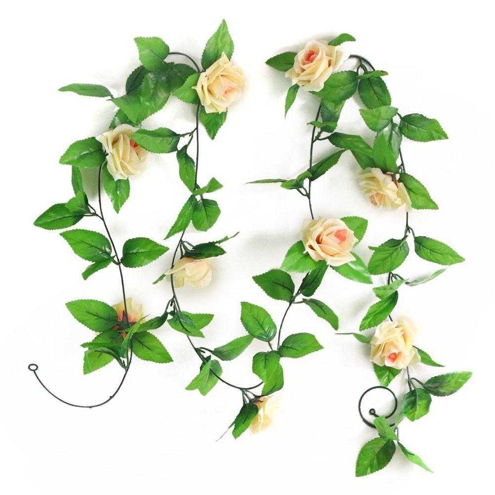 SODIAL(R) 2.5M Artificiale Rosa Garland seta della vite del fiore per il giardino Decoration Champagne LEPAZN1719