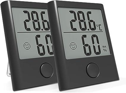 Backture 2 Stück Thermometer Hygrometer Tragbares Digital Innen Außen Thermo Hygrometer Mit Hohe Genauigkeit Klare Temperatur Und Luftfeuchtigkeit Für Babyraum Wohnzimmer Büro Ausflug Etc Garten