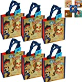 Disney Jurior Jake and the Never Land/Neverland Pirates Party Supply Reusable Tote Bag Set - 6 Reusable Small Non-Woven Disney Jr. Jake and the Neverland Pirates Tote Bags PLUS Bonus Stickers