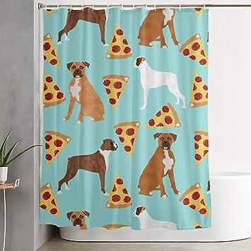 Amazon JashYgsj Boxer Dog Pizza Shower Curtain With Hooks