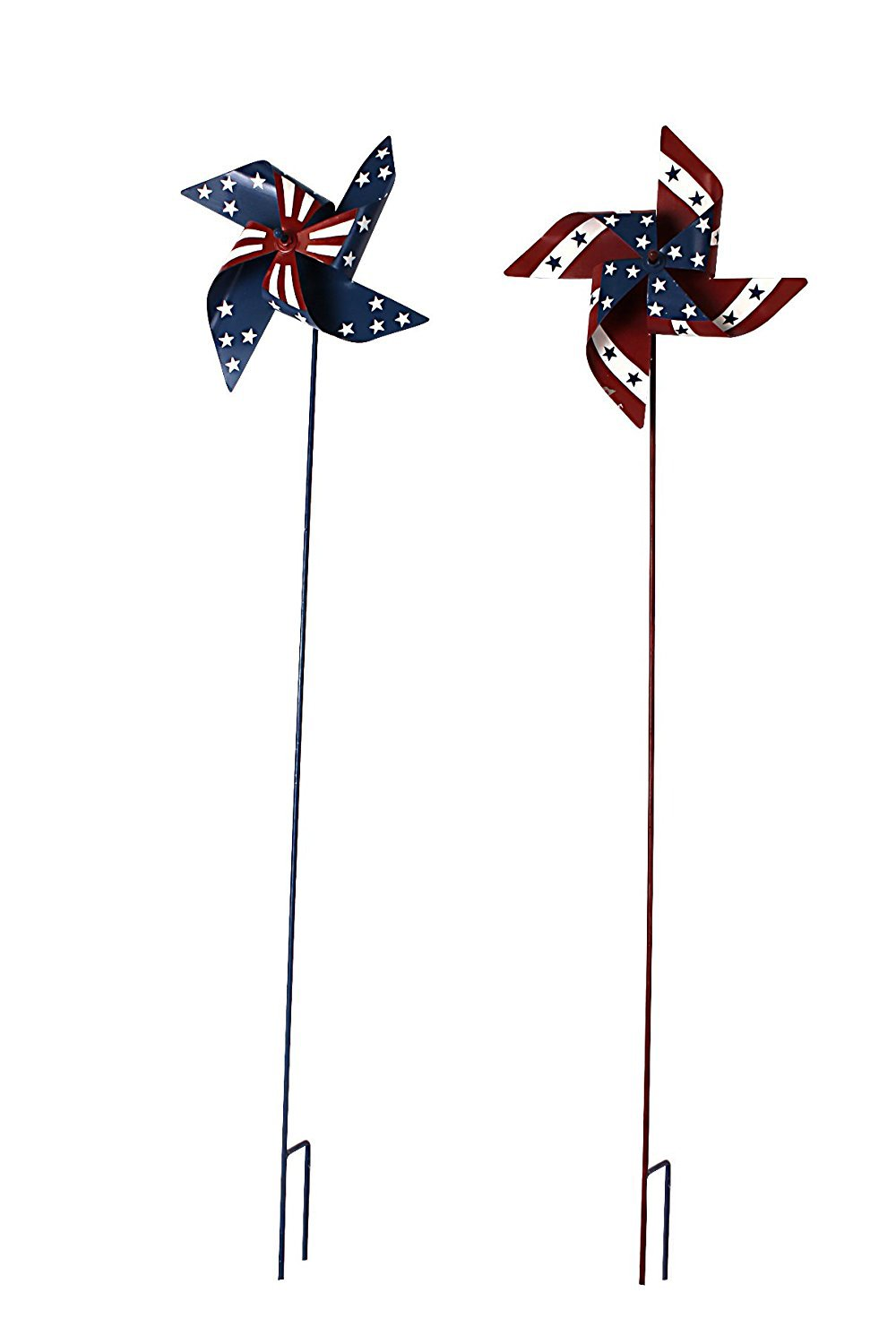 Waroom Home Patriotic Pinwheel Set of 2, American Flag Metal Wind Spinner for 4th of July Decoration, Stars and Stripes, Red White and Blue (L)