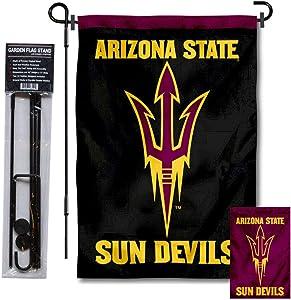 Arizona State University Pitchfork Logo Garden Flag and USA Flag Stand Pole Holder Set