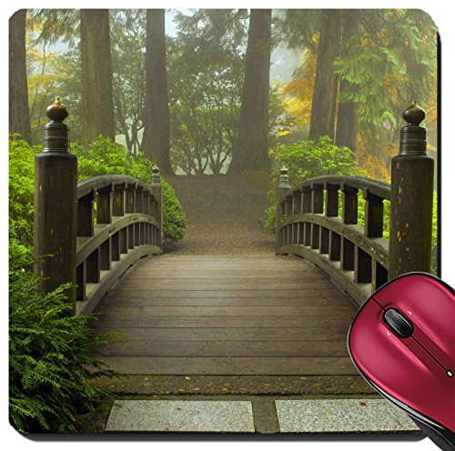 Liili Suqare Mousepad 8x8 Inch Mouse Pads/Mat Wooden Bridge at Portland Japanese Garden in Fall One Foggy Morning Photo - Photo Por