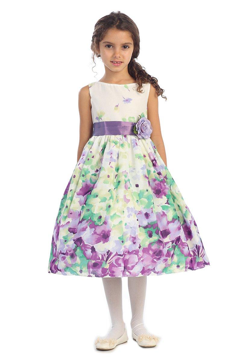 JM DREAMLINE girls Lavender Fine Cotton Flower Printed Flower Girl Dress-Lavender-12