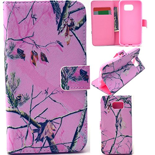 Galaxy S6 Case,Love Sound [Stand Feature] Galaxy S6 Wallet Case [Wallet S] Premium Wallet Case With TPU Flip Case Cover for Samsung Galaxy S6 Case- Camouflage Pink Tree with 1 (Audio Combination Case Camo)
