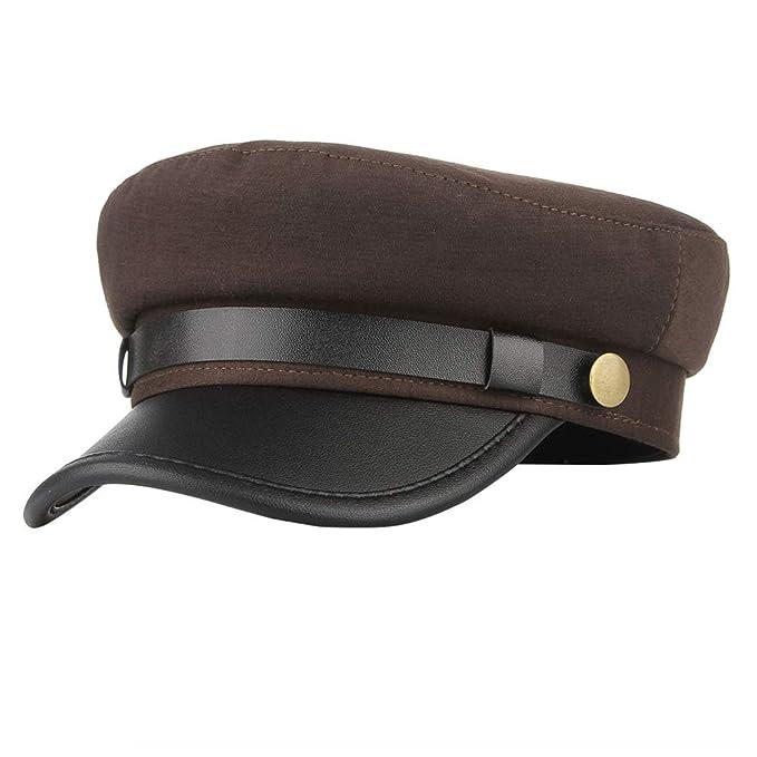 Mens Women Vintage Flat Cap, S Charma British Style Navy Captain's Hat  Chauffeur Hat