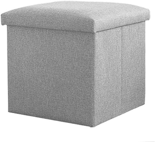 iTECHOR gris baúl de almacenaje plegable cubo taburete reposapiés caja asiento, algodón y lino, gris, 30 x 30 x 30cm: Amazon.es: Hogar