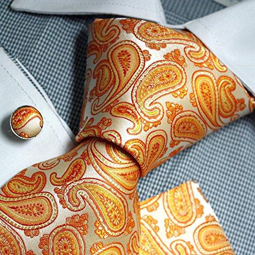Orange Paisley Woven Silk Necktie Handkerchief Cufflinks Present Box Set hot Orange mens cufflinks Epoint Tie PH1158 One Size Hot ()