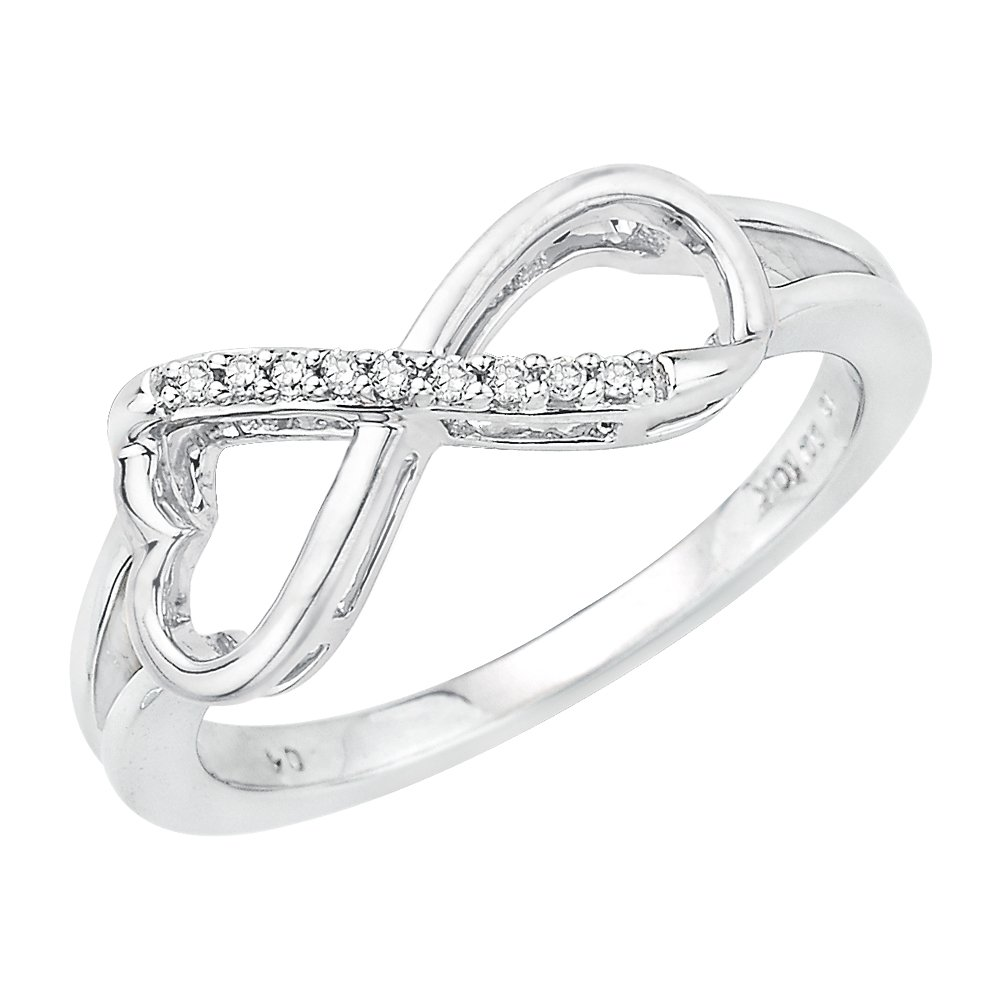 Heart Shaped Infinity Diamond Ring in Sterling Silver (1/20 cttw) (Size-6)