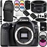 Canon EOS 80D DSLR Camera with Canon EF 50mm f/1.8 STM Lens 14PC Accessory Bundle – Includes 64GB SD Memory Card + 2x Replacement Batteries + MORE (Certified Refurbished)