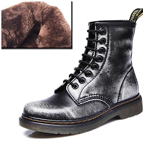 Odema Damen Mode Leder Martin Schnur Stiefel 1gray cotton