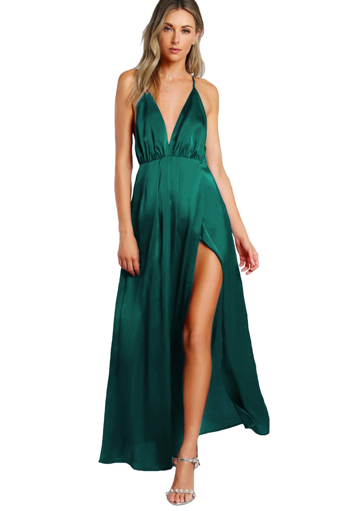 3f6f034855 SheIn Women's Sexy Satin Deep V Neck Backless Maxi Party Evening Dress Dark  Green Large