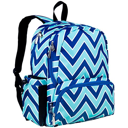 Wildkin 17 Inch Backpack, Durable Backpack with Padded Straps, Three Zippered Compartments, Moisture-Resistant Lining, and Two Side Pockets – Zigzag Lucite