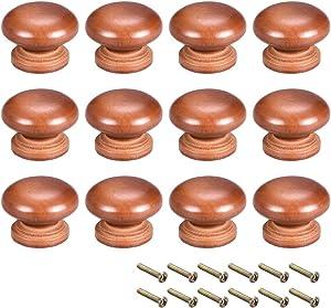 uxcell Round Wood Knobs,12Pcs 35mm Dia Cabinet Furniture Kitchen Pulls Handles for Dresser Drawer Wardrobe, Dark Red
