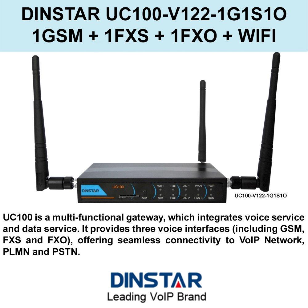 DINSTAR UC100-V122-1G1S1O Multi-functional Gateway 1GSM+1FXS+1FXO+WIFI by DINSTAR