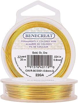 Imagen deBENECREAT 20m Alambre de Cobre Cable Metálico Accesorios de manualidad para Diseño de Bisutería - Dorado Calibre 22
