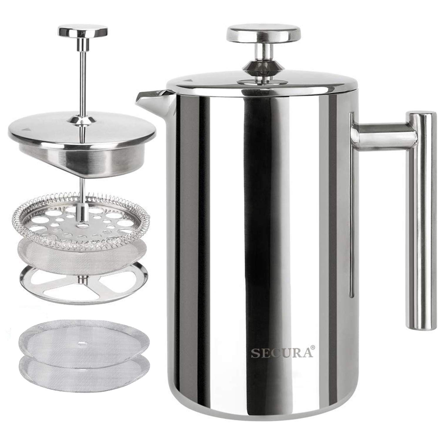Secura French Press Coffee Maker, 304 Grade Stainless Steel Insulated Coffee Press with 2 extra Screens, 17oz 0.5 Litre , Silver