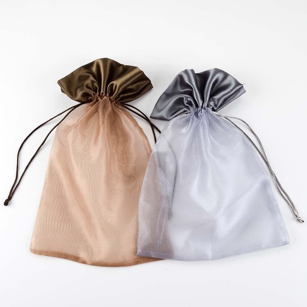 VU100 Drawstring Bags Bulk for Storage, 8x12 Decorative Drawstring Travel Bags, Storage and Packing Bags for Girls/Boys/Women/Kids(Brown and Grey,2 Pcs)