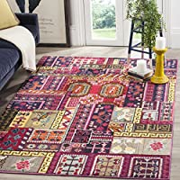 Safavieh Monaco Collection MNC212D Modern Bohemian Colorful Pink and Multi Distressed Area Rug (8 x 11)