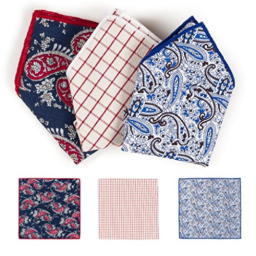 Pocket Square Handkerchief Hanky For Elegant Men Navy White Paisley White Red Checker Blue Floral Suit Tuxedo Wedding Party 3 PCS - Plaid Accessories
