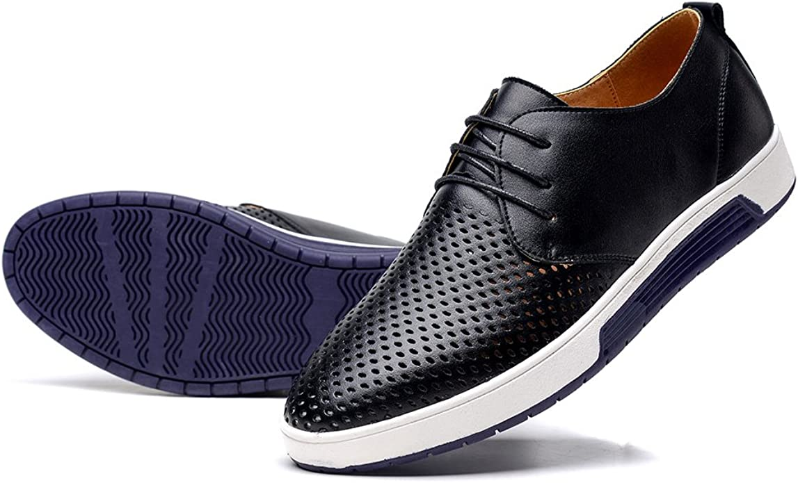 British Men Casual Genuine Leather Shoes Lace-up Sneakers Oxford Breathable