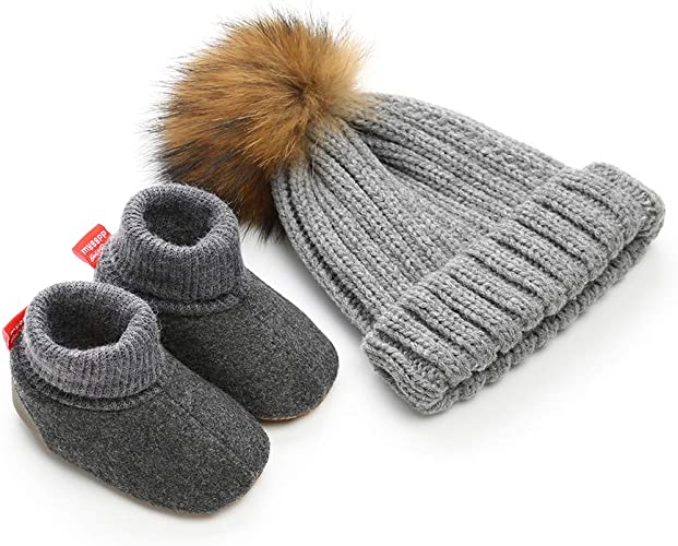 Baby Booties Hat Set 2pcs Winter Warm Soft Sole Slippers Shoes with POM Hat First Birthday Gift