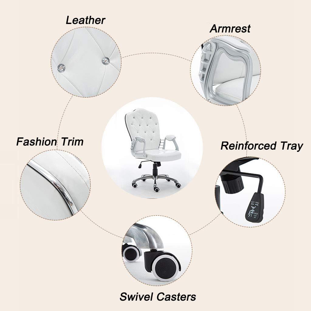 Kontor ryggstöd fritidsstol verkställande kontorsstol svängbar uppgift stolar med lädertyg motståndskraft svamp 360 ° rotation för sovrum konferensrum, svart Svart