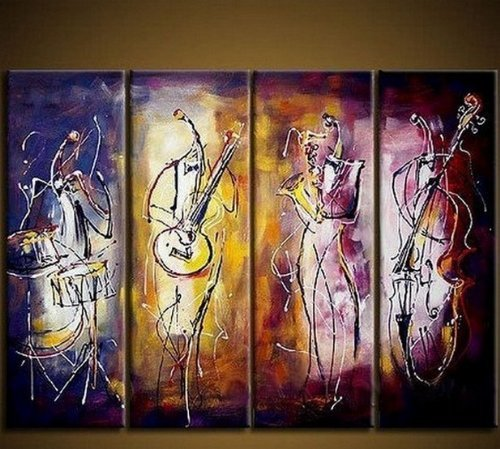 Hand Painted Art Oil Painting on Canvas 4 Piece Canvas Art Jazz Player Modern Art Large