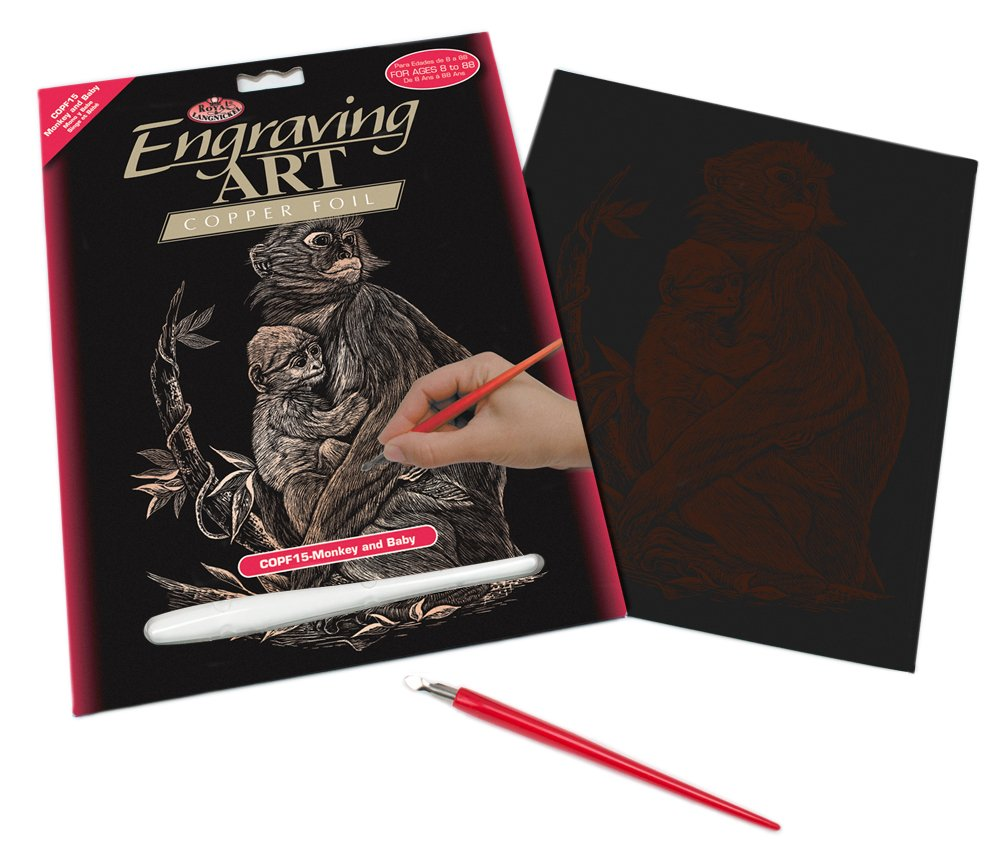 Royal /& Langnickel Copper Engraving Art A4 Size Monkey and Baby Designed Painting Set