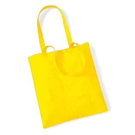 Westford Mill Life Long Handles Shopper Bag Cotton Shopping Shoulder Tote  WM101 (Yellow)  Amazon.co.uk  Kitchen   Home a4f11e8fee640
