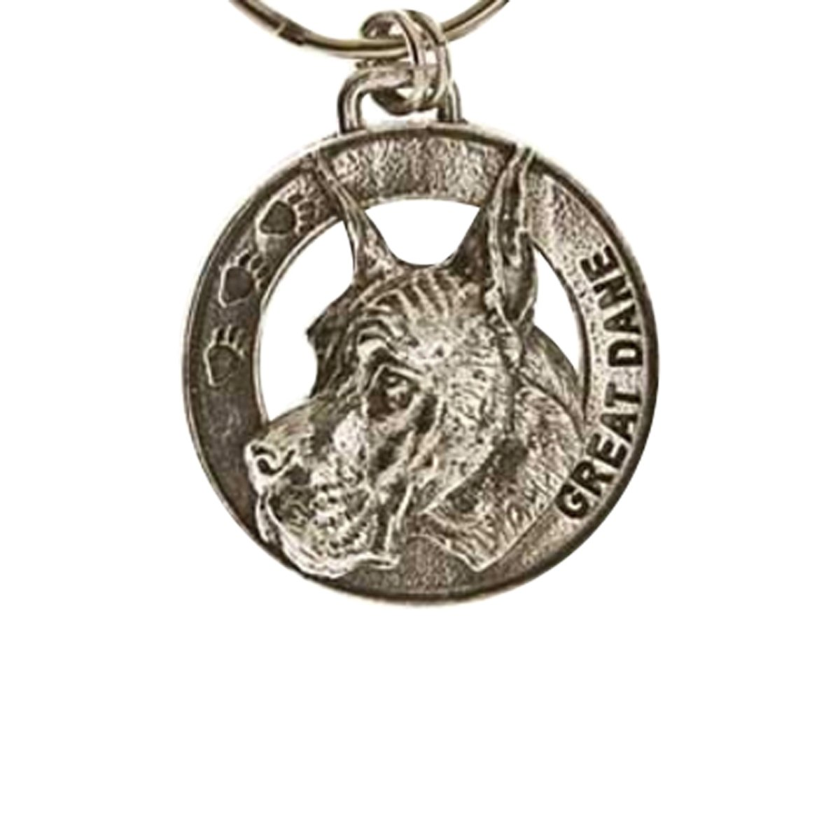 Creative Pewter Designs, Pewter Great Dane Key Chain, Antiqued Finish, DK094